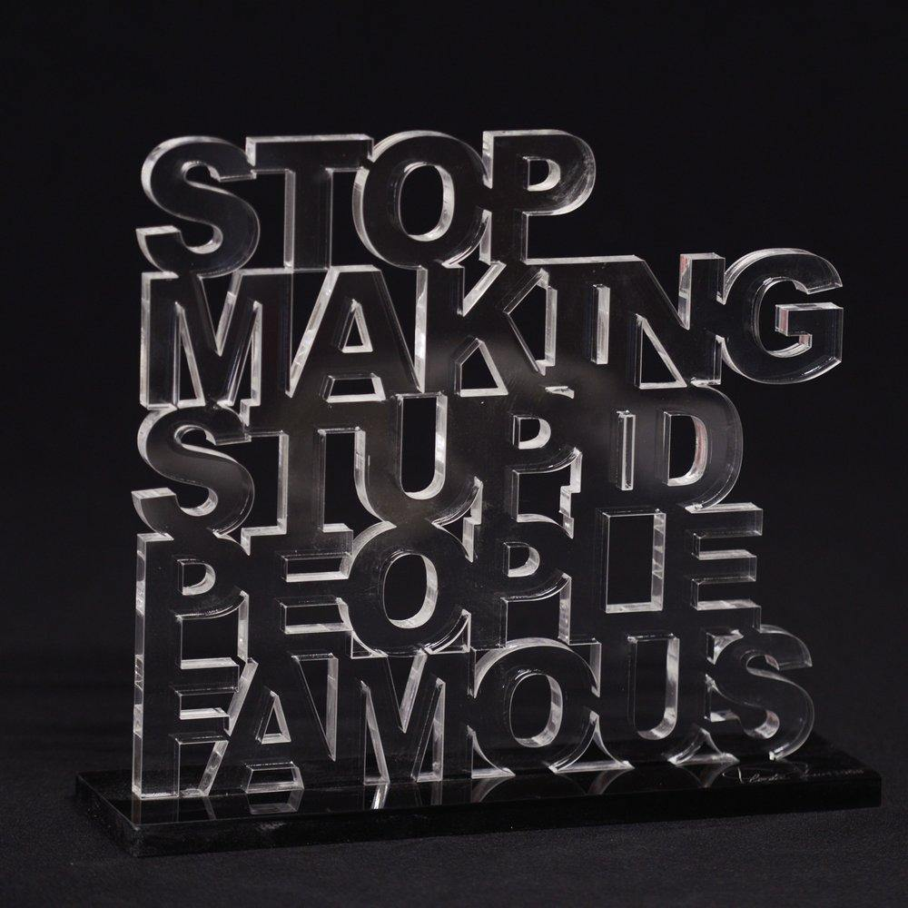 Stop making stupid people famous, Plastic Jesus, sculpture, Artist, Fine art, photography, home decor, wall decor, interior design, La Maison Rebelle, gift shop, Los Angeles, fine art photography, signed, limited edition, art gallery, gallery, hollywood