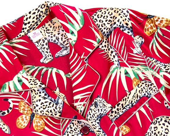 tropical print, leopard print, pajama set, long sleeve, button up, top, shirt, piping, detail, elastic waistband, palm tree, red, green, animal print, silk, satin, soft, comfortable, chic, loungewear, PJ set, Mens,  woman, small, medium, large, cotton, soft, gift shop, gifts, Los Angeles, La Maison Rebelle, art gallery.