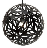 Floral light by David Trubridge in painted black both sides