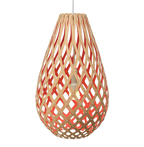 Koura light by David Trubridge in painted Red