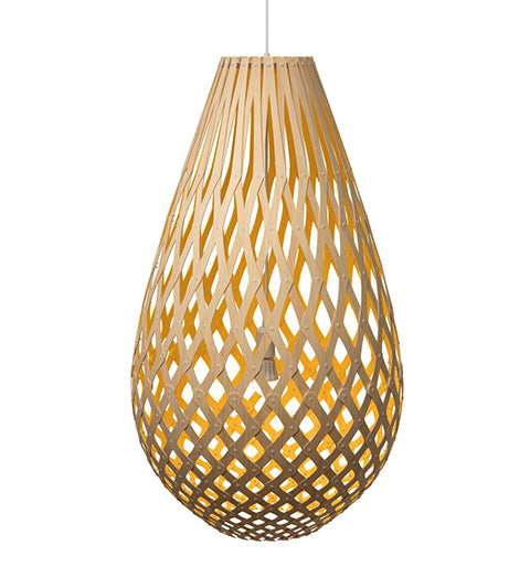 Koura light by David Trubridge in painted yellow