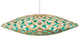 Flax light by David Trubridge in painted aqua