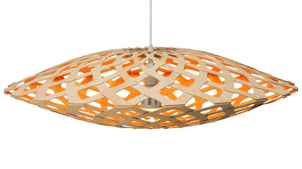 Flax light by David Trubridge in painted orange
