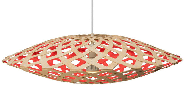 Flax light by David Trubridge in painted red