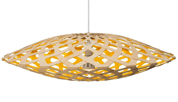 Flax light by David Trubridge in painted yellow