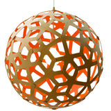 Coral light by David Trubridge in painted orange