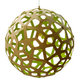 Coral light by David Trubridge in painted lime/green