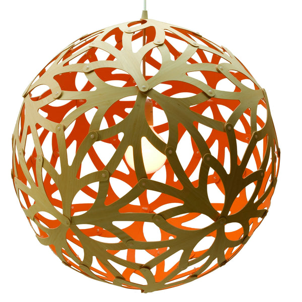 Floral light by David Trubridge in painted orange