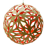 Floral light by David Trubridge in painted red