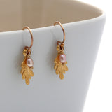 Leaf Drop Earrings-Gold