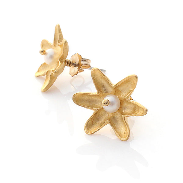 Gold Lotus Flower Studs