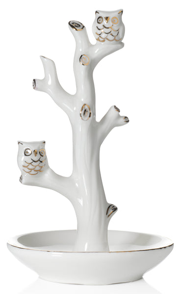 Double Owl Ring Holder Tree Dish, White with Real 24K Gold Plating