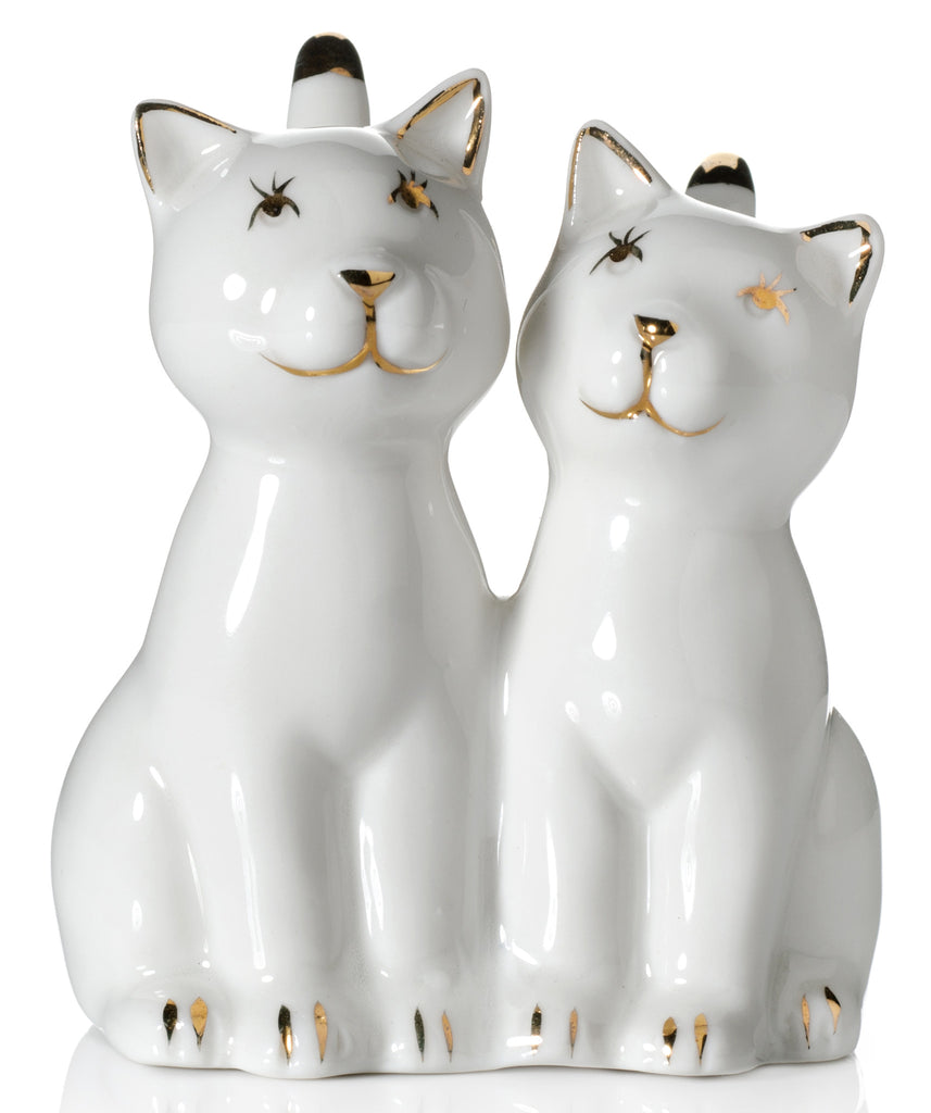 Two Cat Ring Holder, White with Gold Plating