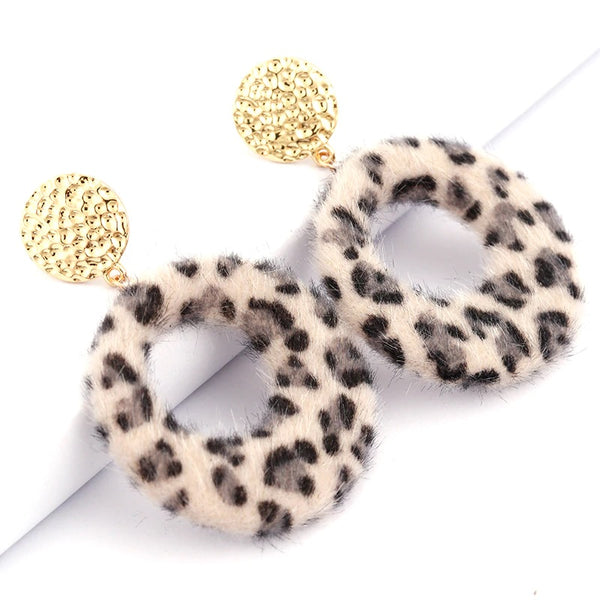 Bella Leopard Furry Earrings