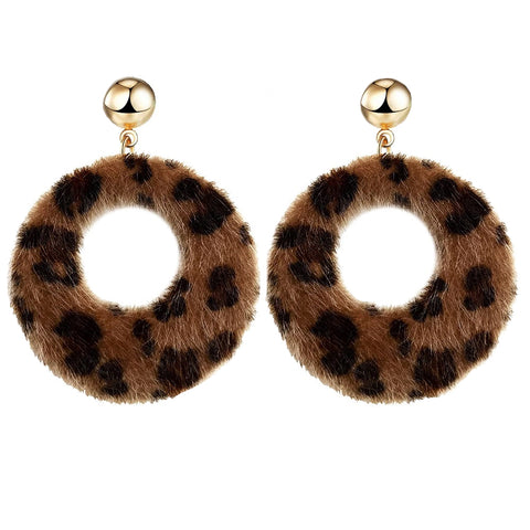 Eden Leopard Furry Earrings