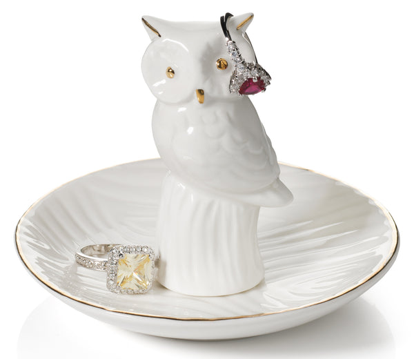 Owl Ring Holder Dish, White with REAL 24K GOLD Plating