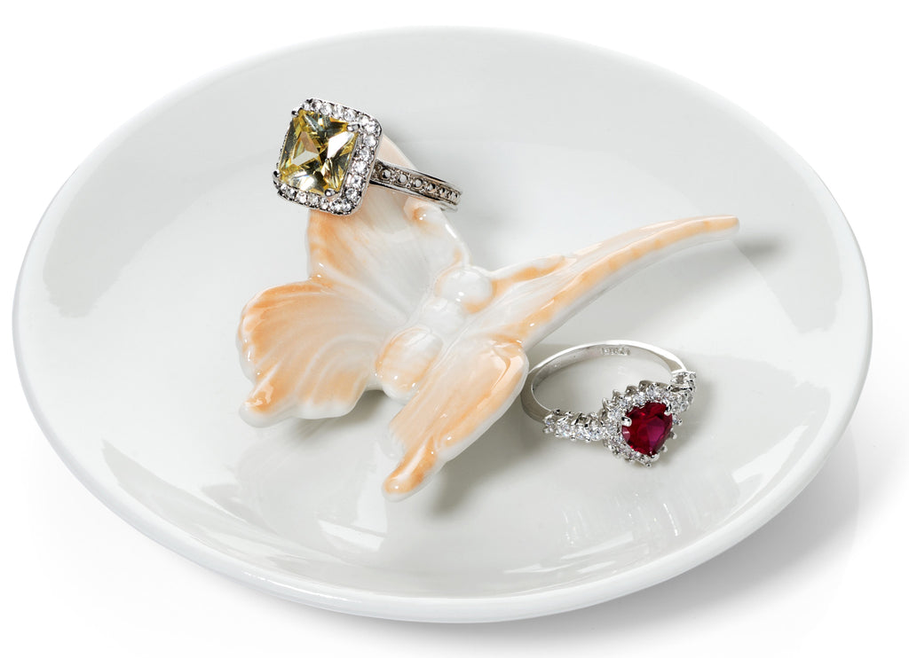 Butterfly Ring Holder Dish, Peach and White