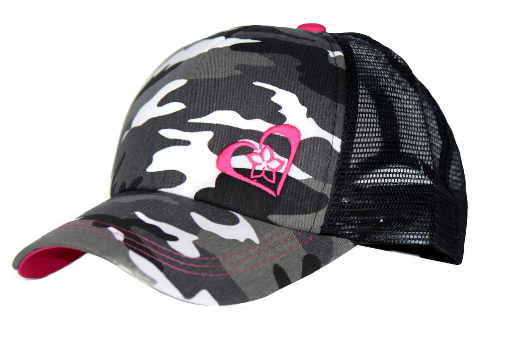 Grey Camo Trucker Hat with Pink Details