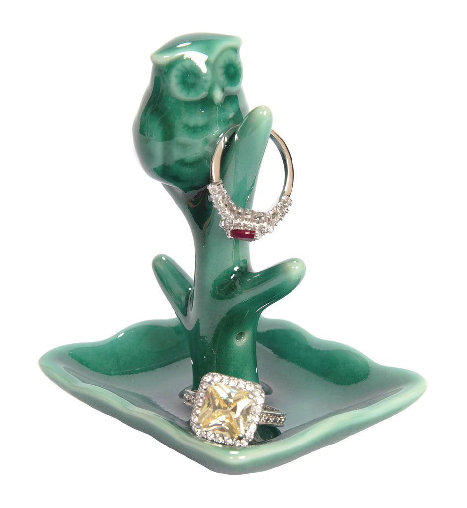 Teal Owl Ring Holder with Tree Display Dish