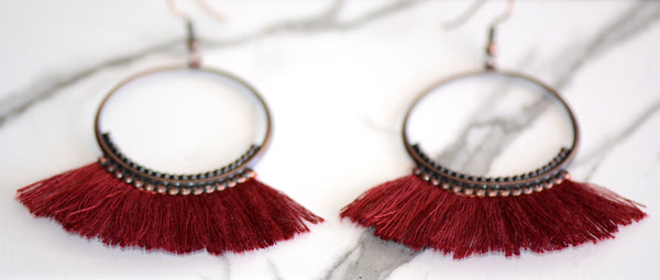 Navi Tassel Hoop Earrings