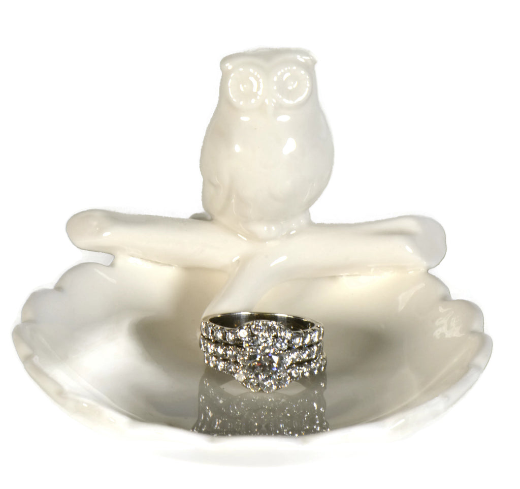 White Owl Ring Holder Dish