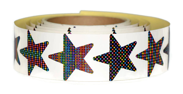 "Star Stickers Roll | 10 Vibrant Color Designs | Includes a Full 130 1.5"" Star Stickers Per Roll"