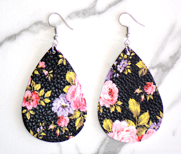 Jani Floral Leather Earrings