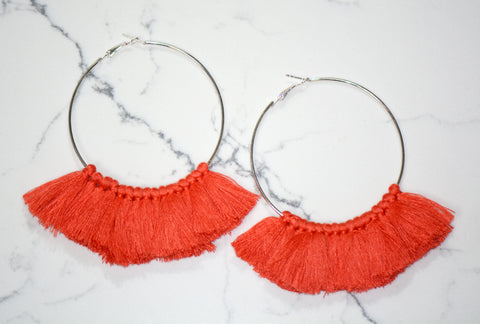 Brea Large Tassel Hoop Earrings