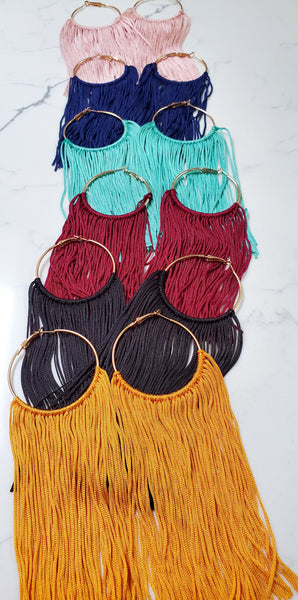 Lexi Long Tassel Hoop Earrings