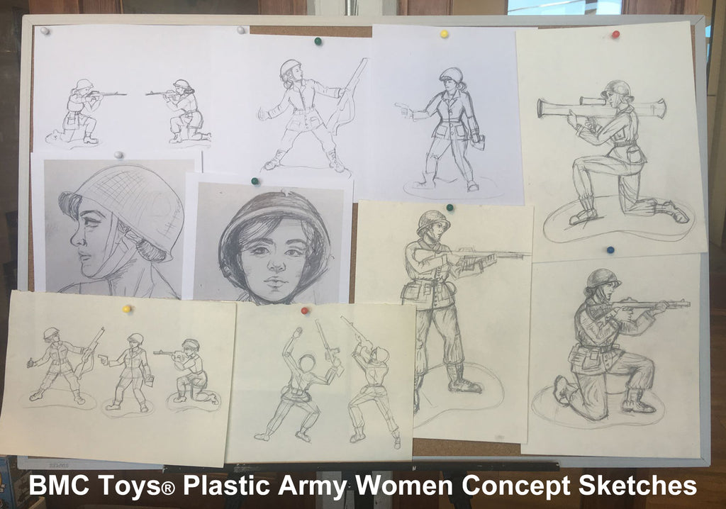 BMC Toys Plastic Army Women Concept Sketches