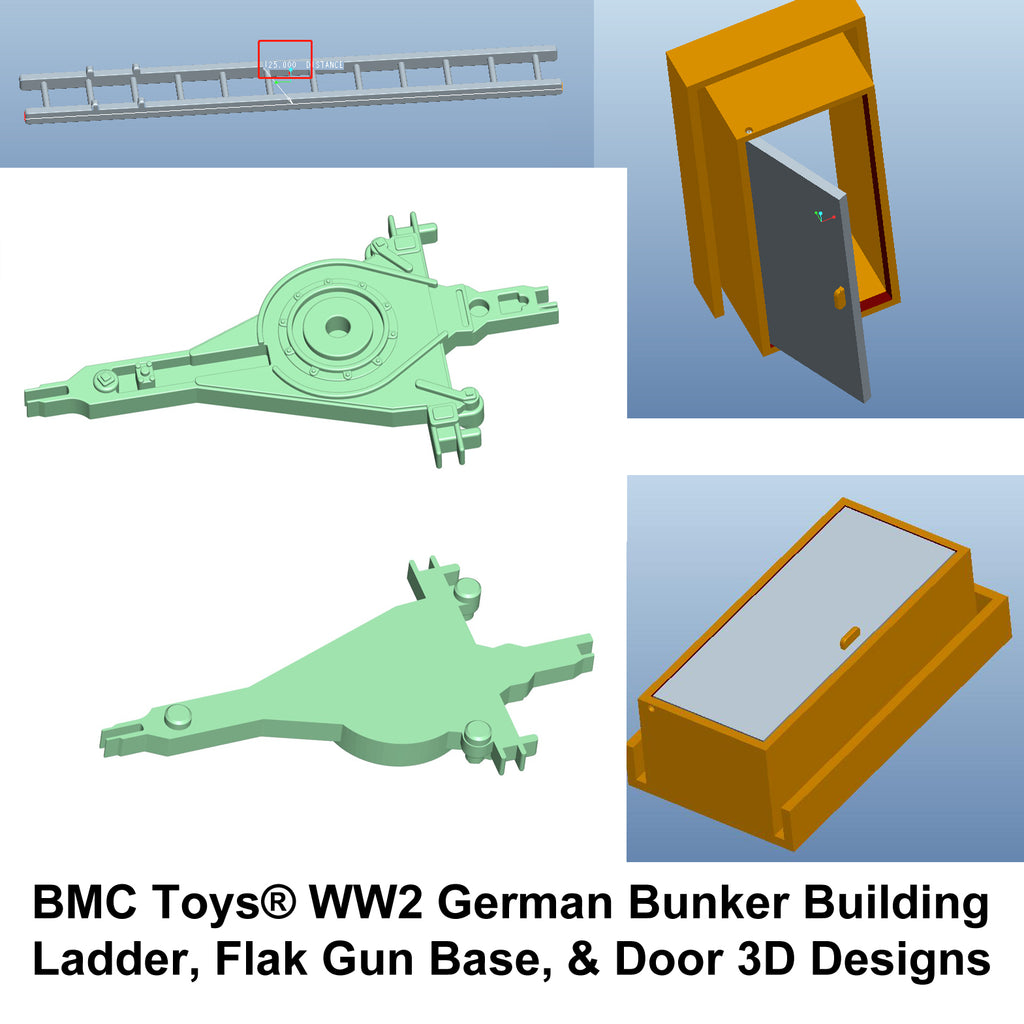 BMC Toys WW2 German Bunker Building  Ladder, Flak Gun Base, & Door 3D Designs