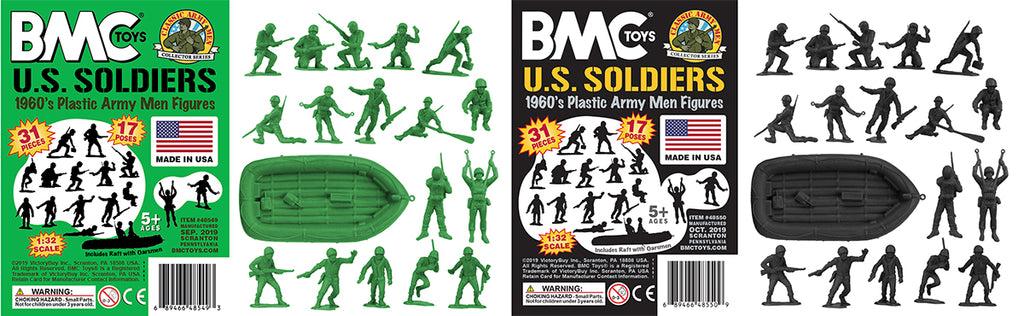 BMC Toys Classic Army Men US Soldiers Black & Green