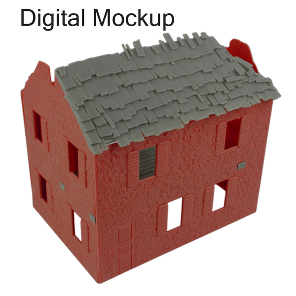 BMC Toys Barn Red Bombed Farm House Mockup