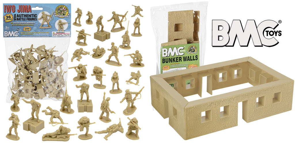 BMC Toys Tan Iwo Jima Marines and Bunker Walls