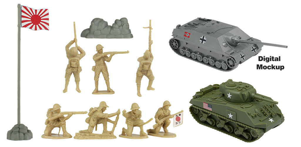 BMC Toys Iwo Jima Japanese Soldiers and Tanks