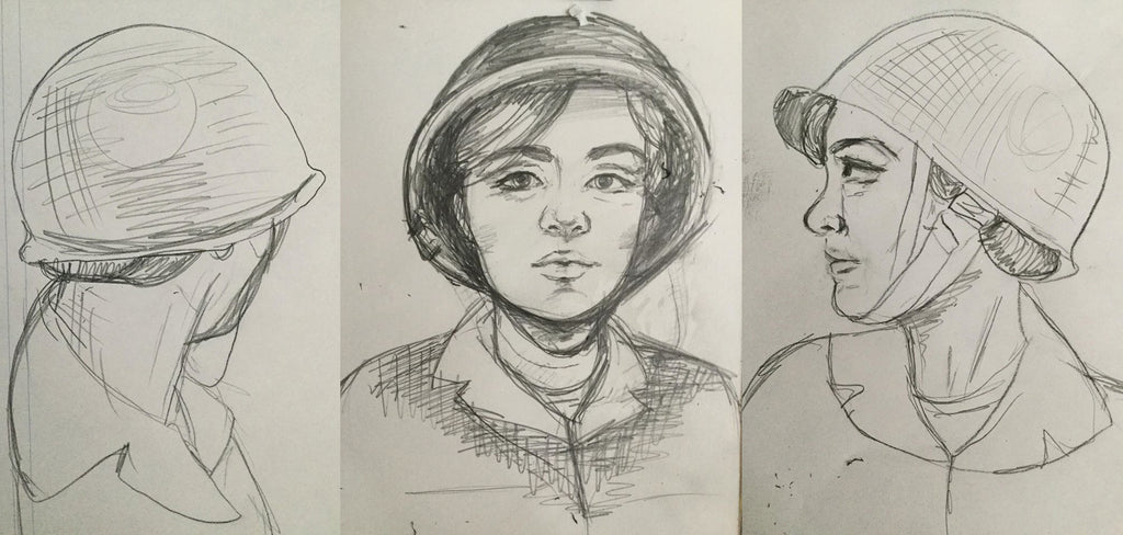 BMC Toys Plastic Army Women Helmet and Hair Sketches
