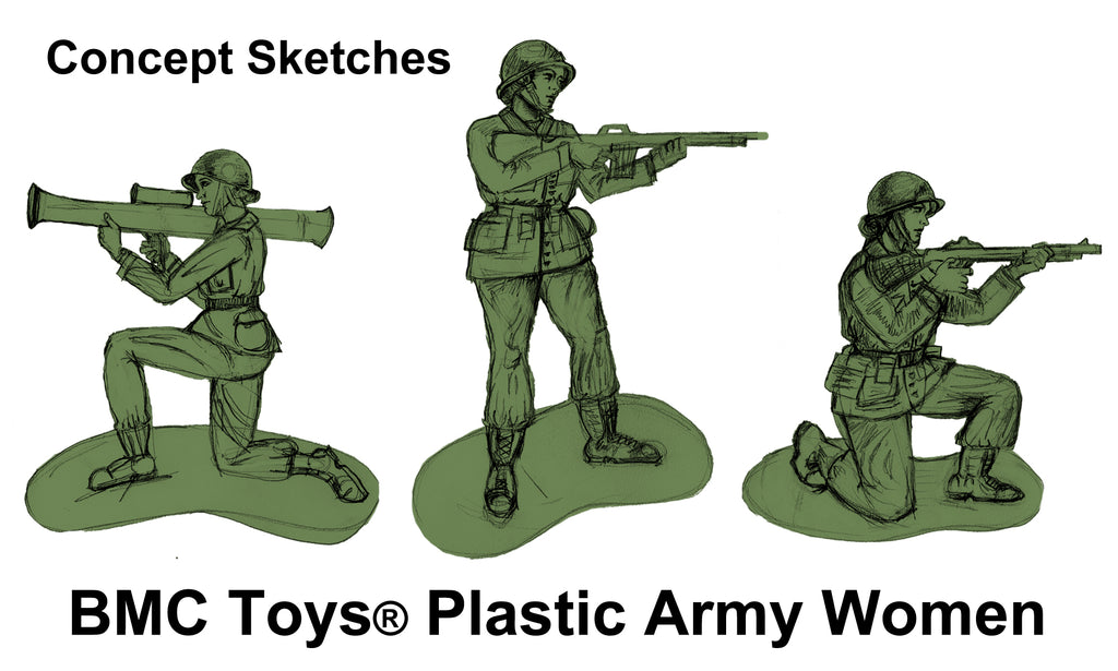 BMC Toys Female Toy Soldier Concept Sketches