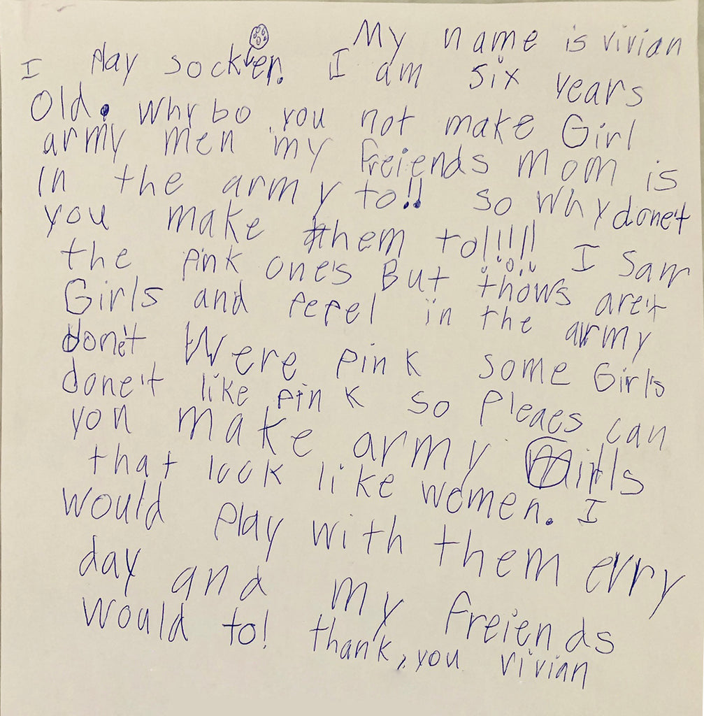 Letter asking for Plastic Army Women