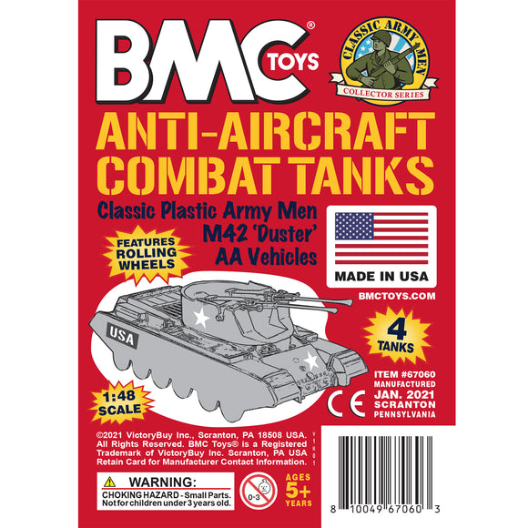 BMC Classic Payton Anti-Aircraft Tanks - 4pc Red Plastic Army Men Vehicles - US Made