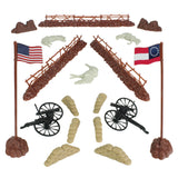 BMC Civil War Battlefield Plastic Army Men 1:32 Accessories - 18pc Fences, Flags