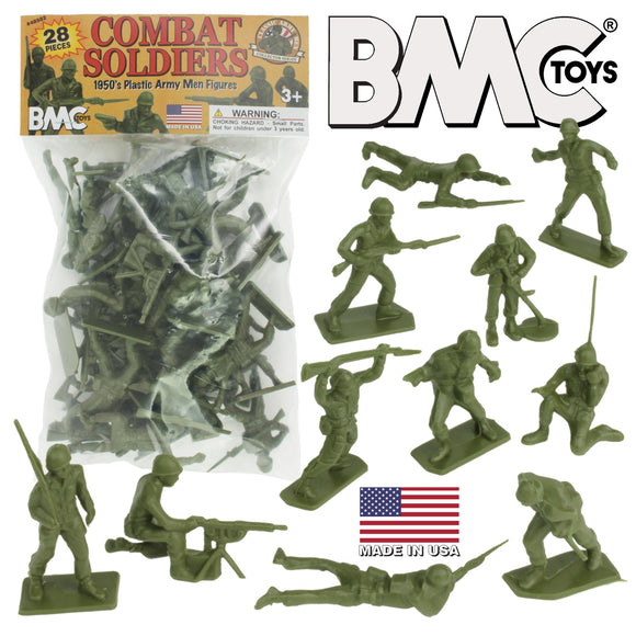 BMC Classic Green PLASTIC ARMY MEN - 28pc WW2 Soldier Figures - Made in USA