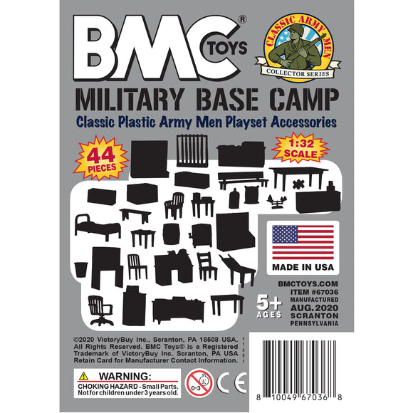 BMC Classic Marx Military Base Camp - Gray 44pc Plastic Army Men Playset Accessories