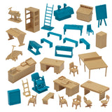 BMC Classic Marx Mid-Century Modern Furniture - 32pc Plastic Playset Accessories