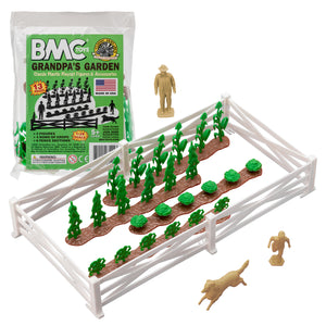BMC Classic Marx Grandpa's Garden - 13pc Plastic Farm Dog & Crops Playset
