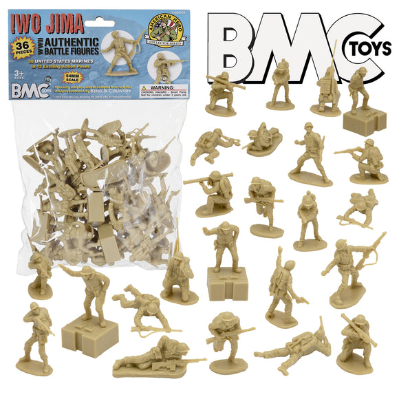 BMC WW2 Iwo Jima US Marines Plastic Army Men - 36 Tan American Soldier Figures