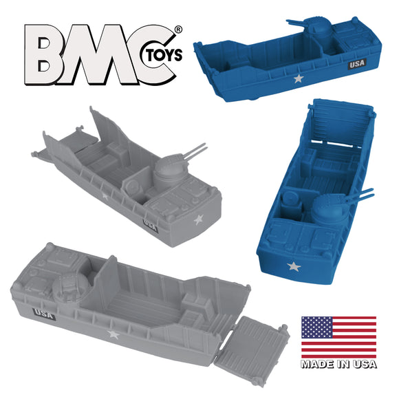 BMC Classic Marx Landing Craft - 4pc Blue & Gray Plastic Army Men Boat Vehicles