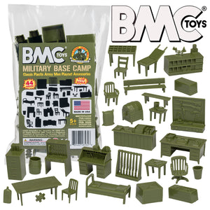BMC Classic Marx Military Base Camp - 44pc Plastic Army Men Playset Accessories
