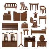 BMC Classic Marx Western Town Furniture - 42pc Plastic Cowboys Playset Accessories