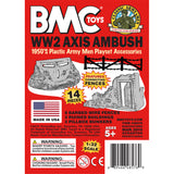 BMC Classic Marx Axis Ambush - 14pc Gray Plastic Army Men Playset Accessories