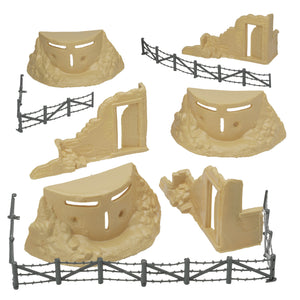 BMC Classic Marx Axis Ambush - 14pc Tan Plastic Army Men Playset Accessories